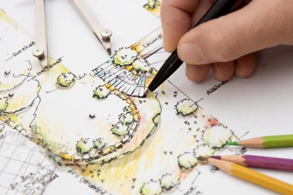 tuinarchitect maakt tekening